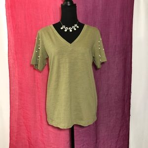 Olive Green Vneck Tee With Pearl Accents